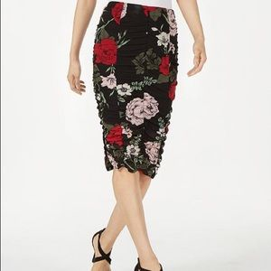 Material Girl Ruched Floral skirt